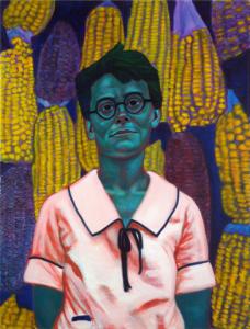 """Barbara McClintock: Cytogeneticist"", by Jennifer Mondfrans, 2013 (mixed media [acrylic, paper, wood, metal, sealing wax], 45.7 x 60.9 cm.)"